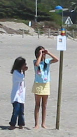 kids looking at solar system model on beach