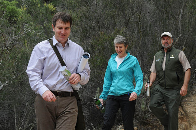 East Contra Costa Habitat Conservation Plan Executive Director John Kopchik (left) and East Bay Regional Park District General Manager Robert Doyle lead Interior Secretary Sally Jewell on a hike through Black Diamond Mines Regional Preserve on Monday, May 5. (Photo by Tami Heilemann, U.S. Department of the Interior)