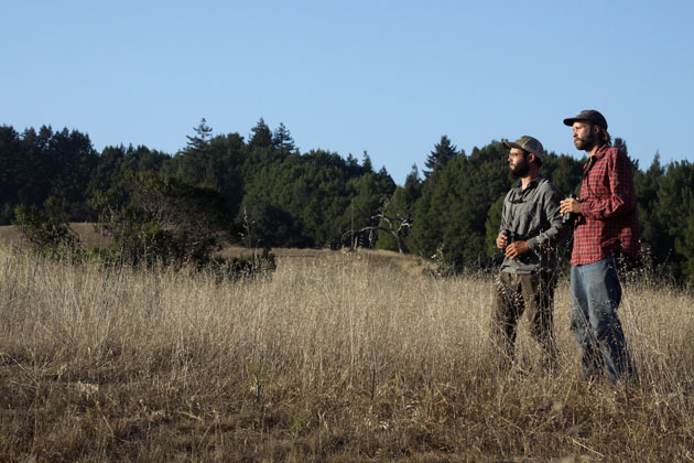 Zach Michelson (left) and Teague Scott, volunteer researchers with the Santa Cruz Predatory Bird Research Group, affiliated with UC Santa Cruz, watch for kestrels.