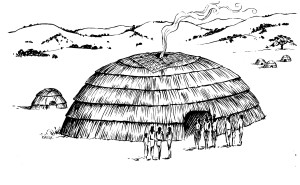 Depiction of Mutsun roundhouse. Illustration by Edward Willie