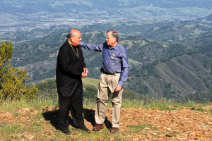 Amah Mutsun Tribal Chair Valentin Lopez and Midpeninsula Regional Open Space District General Manager Steve Abbors at the summit of Mount Umunhum. Photo courtest of MROSD