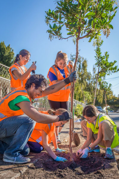 Uriel Hernandez guides a team from Girls' Middle School in planting a madrone in the Beech Street neighborhood of East Palo Alto in October 2015. (Photo by Federica Armstrong, courtesy of Canopy)